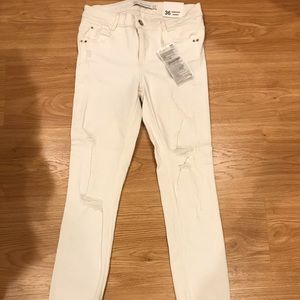 Zara White Distressed Skinny Jeans
